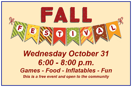 PABC Fall Festival with Games, Food and Inflatables. October 31st